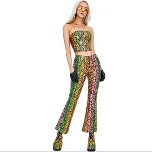 Dolls Kill Club Exx Neon Venom Snakeskin Pants Small